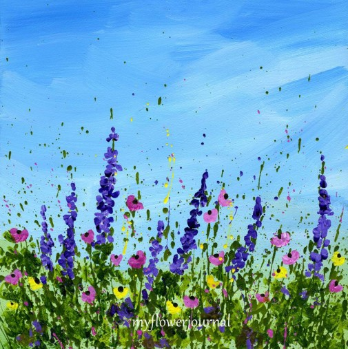 Splattered Paint Flower Art using Golden Fluid Arylics-myflowerjournal