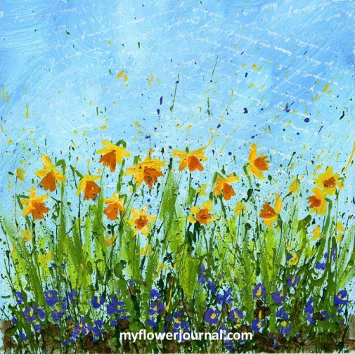 You can create this beautiful Daffodil Splattered Paint Flower Art using the easy 4 step daffodil doodles tutorial from myflowerjournal
