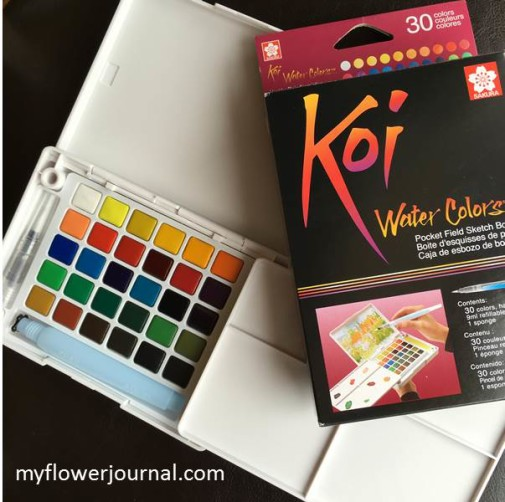My new Koi Pocket Watercolor set now has 30 beautiful colors that make it great for on the go projects. Review by myflowerjournal