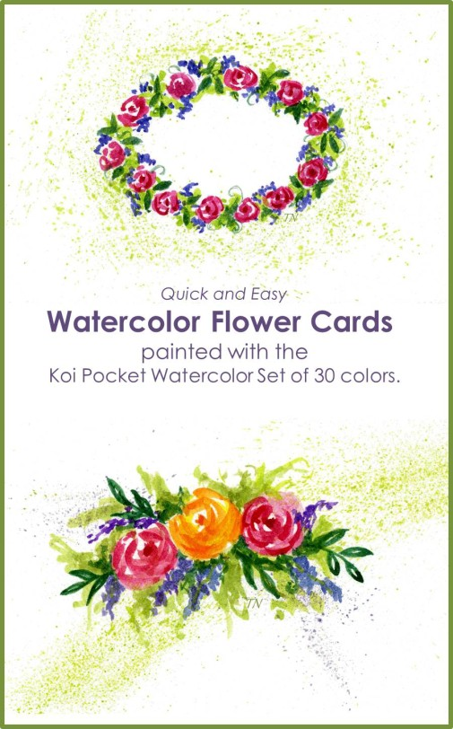These quick and easy Watercolor Flower Cards were created using the tutorials found on myflowerjournal.com. They were painted with the new Koi Pocket Watercolor set with 30 colors.