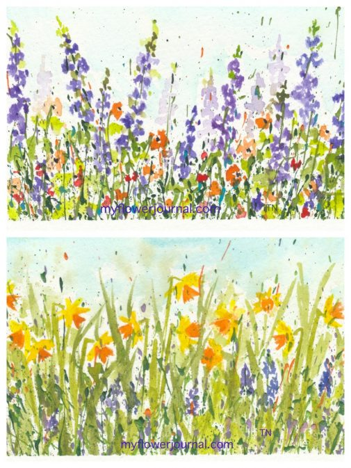 These watercolor flowers on splattered acrylic paint were painted with the Sakura Koi Watercolor Field Set. Its a great set travel set with lots of vibrant colors. myflowerjournal.com
