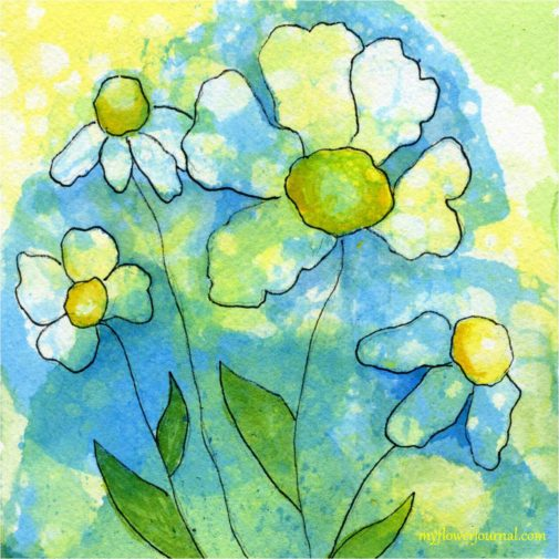 How to do Bubble Painting Watercolors with Flower Art doodles Tutorial-myflowerjournal