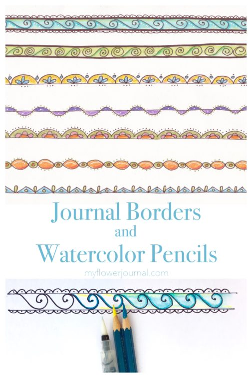 Seven fun, colorful journal borders to use for cards, bullet journals, planners and more-plus tips on how to color them with watercolor pencils. myflowerjournal.com