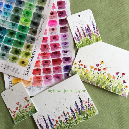 You can create cards and other small projects using Daniel Smith watercolor dot cards. They are fun to play with and discover new colors.from myflowerjournal.com