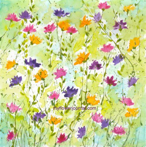 All over splattered paint flower art design-myflowerjournal.com