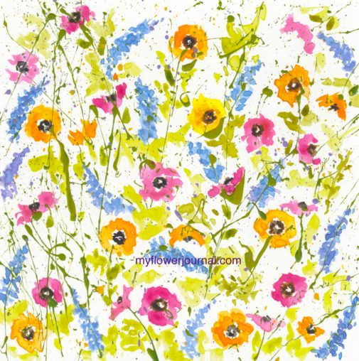 Splattered Paint Flower Art All Over Design-myflowerjournal.com