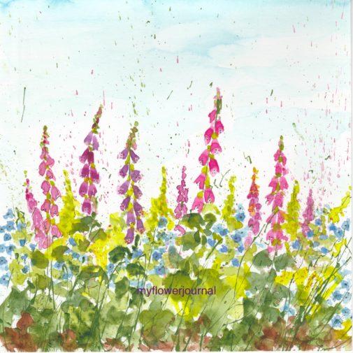 Splattered Paint Foxglove Flower Art Inspired by my travel photos-myflowerjournal