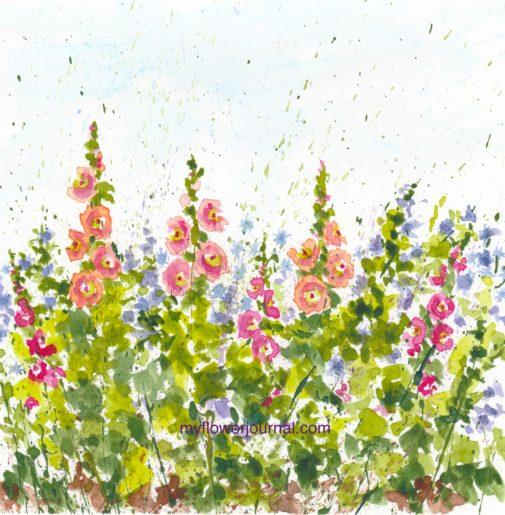 Splattered Paint Hollyhock Flower Art inspired by my travel photos-myflowerjournal.com