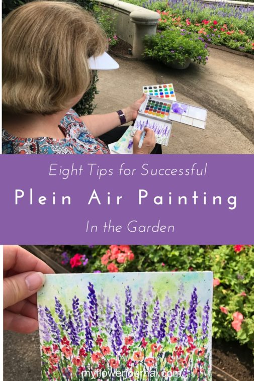 Eight tips for successful watercolor plein air painting in the garden from myflowerjournal.com