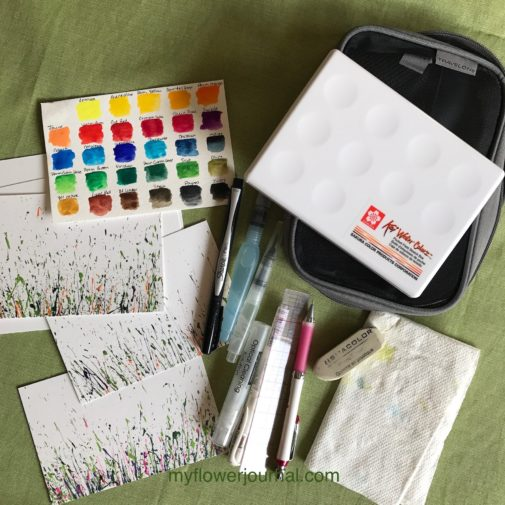 These are the supplies I like to take with me when I want to paint on a vacation or in a garden near my home. myflowerjournal.com