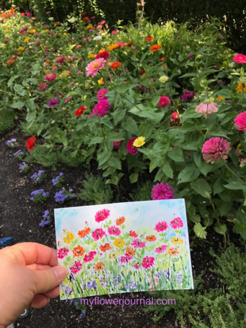 Learn how I turned paint splatters into flower art while I was plein air painting at Thanksgiving Point Gardens in Lehi Utah. myflowerournal.com