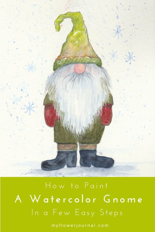 How to paint a watercolor gnome in a few easy steps from myflowerjournal.com