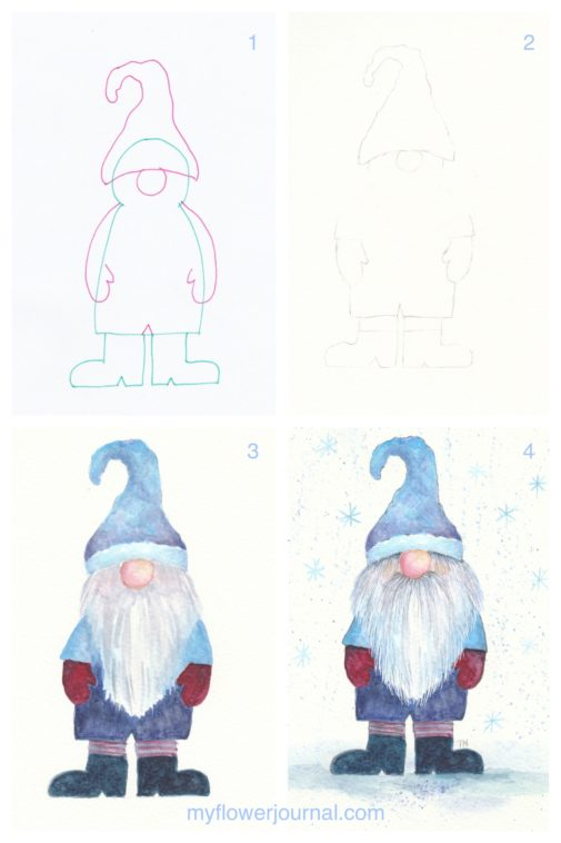 Photo tutorial showing how to paint a watercolor winter gnome from myflowerjournal.com