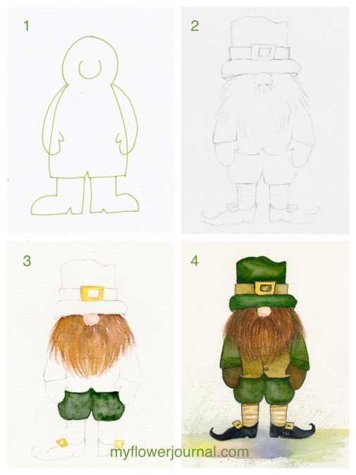 Painting a watercolor leprechaun is easy if you follow these simple steps on myflowerjournal.com