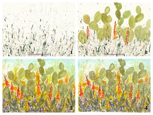 Follow this tutorial from myflowerjournal.com to paint desert cactus and splattered paint flower art. myflowerjournal.com