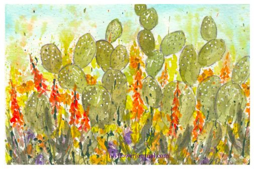 I love the look of watercolor cactus and splattered paint flower art combined into a beautiful piece of art to frame or use as a card. myflowerjournal.com