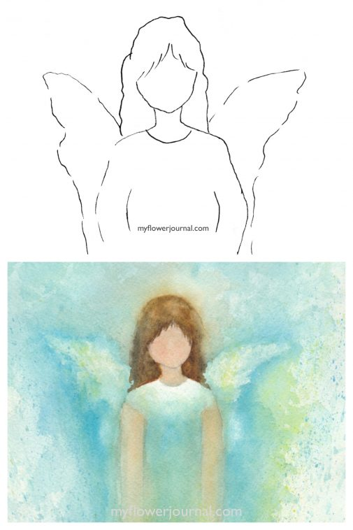 I started with this simple drawing on watercolor paper to create my angel in watercolor. myflowerjournal.com