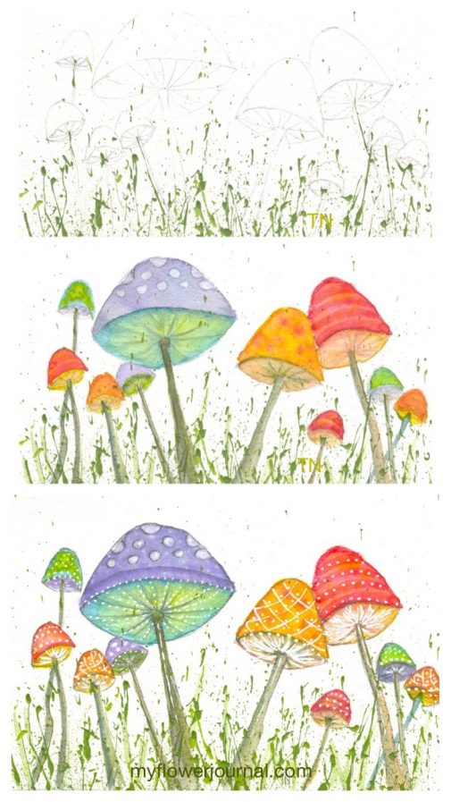 Here are some step by step photos that show how I added some colorful, whimscal watercolor mushrooms to splattered acrylic paint. myflowerjournal.com
