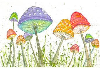 Whimsical Watercolor Mushrooms