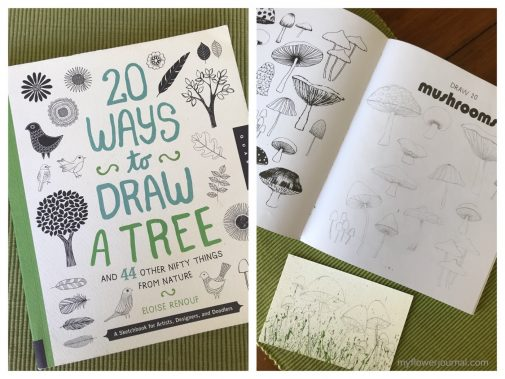 I used this great drawing book by Eloise Renouf to help be add some watercolor mushrooms to some splattered acrylic paint.