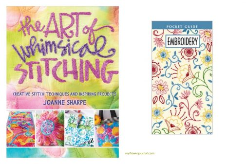 Take a look at these two books to give you some ideas and and helpful info to add embroidered flowers to splattered acrylic paint. myflowerjournal.com