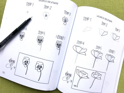 You can practice in the Botanial Line Drawing book. You can see my pen drawings in the draw it box. myflowerjournal.com