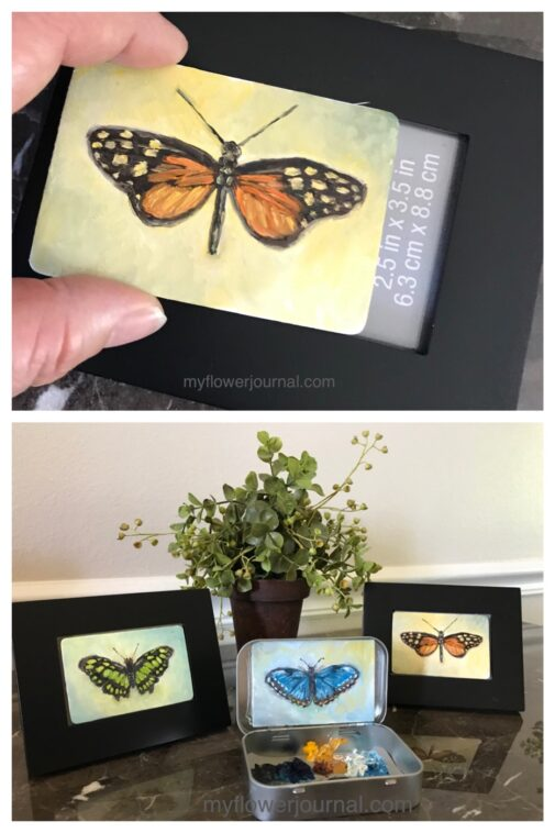I love to paint small using a mint tin as a palette. You can display your finished painting in the mint tin or in a small frame. myflowerjournal.com