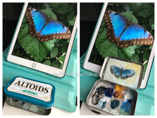 This butterfly mint tin oil painting is a quick and easy project! Learn more on myflowerjournal.com