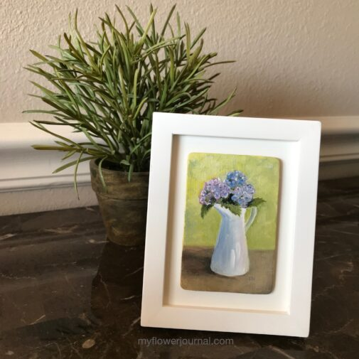 Your small oil paintings can be framed in a larger frame doing a floating type mount so none of the painting is lost behind the frame. myflowerjournal.com