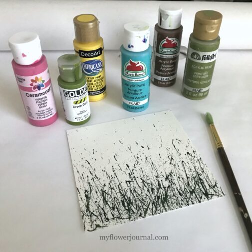 I like to use fluid acrylic paint to make my paint splatters that I add turn into flower art. myflowerjournal.com