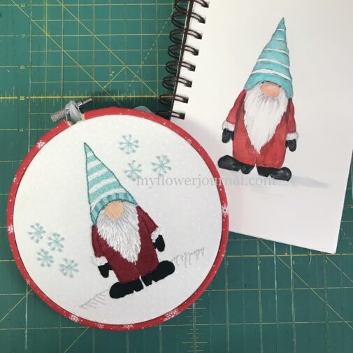 Free Holiday Gnome Drawing to Watercolor or Embroider from myflowerjournal.com