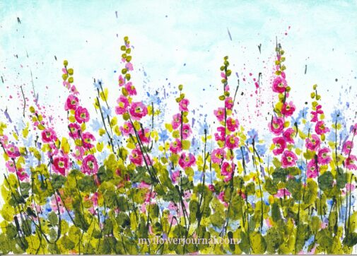 Hollyhock Morning Splattered Paint Flower Art by Tammy Northrup at myflowerjournal.com