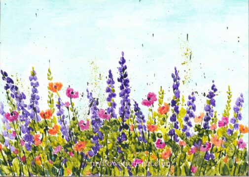 Colorful Garden Splattered Paint Flower Art by Tammy Northrup at myflowerjournal.com