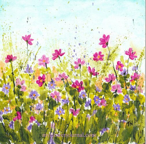 Cosmos and Asters Splattered Paint Flower Art by Tammy Northrup at myflowerjournal.com