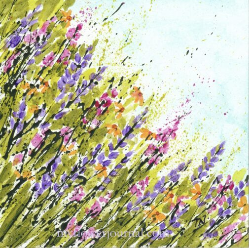 Mountain Wildflowers Splattered Paint Flower Art by Tammy Northrup at myflowerjournal.com