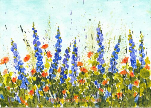 Delphinium Delight Splattered Paint Flower Art by Tammy Northrup myflowerjournal.com