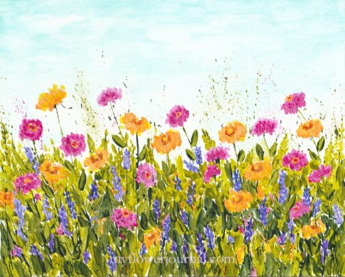 Summer Garden Splattered Paint Flower Art by Tammy Northrup at myflowerjournal.com