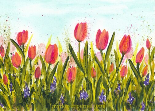 Tulip Time 5x7 acrylic on gesso board splatterd paint flower art by Tammy Norhrup at myflowerjournal.com